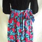 Dress Maxi Velvet Bell Sleeve Vintage 70s NOS Eleanore Hadley Floral Fit Flare