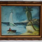 50s Painting Vintage Marine Boats Tropical Haitian EDDY Gilded Bamboo Frame