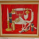 Oil Painting Still Life Pearls Vintage Watch Perfume Bottles Telephone Wood
