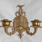 Vintage Brass Wall Sconce 2 Light Fancy Small Scale Hollywood Regency