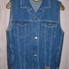 Jean Oversize Vest Jacket Denim Vintage 70s Pin Stripe NOS Union Bay Sleeveless