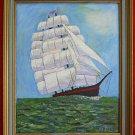 Folk Art Outsider Painting Square Rigger Ship Sailing Marine Framed D Worsky