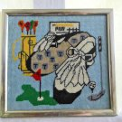 Vintage Decor Needlepoint Golf Modernist Framed Course Clubs Oversize Shoes Tee