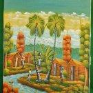 Vintage Original Haitian Painting On Cloth Fantasy Trees Figures Rodnik Folk Art
