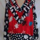 Diane Freis NOS Polka Dot Contrast Floral Print Vintage 70s Blouse Tunic Boho