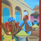 Vintage Haitian Painting Daniel Yves Detailed Weary  Face Squatting Women Market