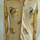 Vintage 70s Shirt Disco Cubist Print S Long Point Collar NOS Philip Meredith