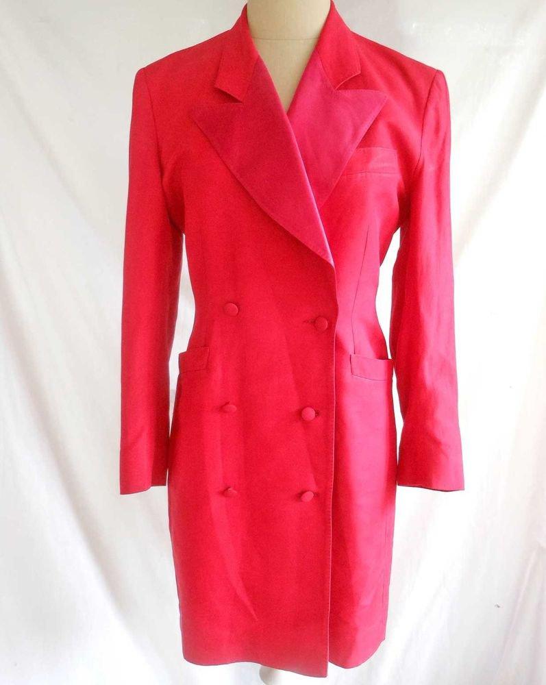 Kenzo Silk Tuxedo Trophy Jacket Sexy Vintage 70s Coat Dress Peak Lapel Red NOS