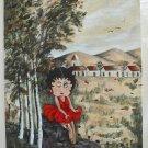 Betty Boop Original Folk Art Oil Painting Florencia Cartoon Sexy Outsider Art
