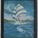 Vintage Original Folk Painting Sailboat Full Sail American Flag TM Wright Blue
