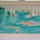 Vintage 60s Early Surfs Up Surfing Long Board California Marshall 1963 Painting