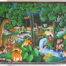 Jungle Animal Kingdom Vintage Haitian Painting Y Jn Pierre Exotic Fantasy Frame