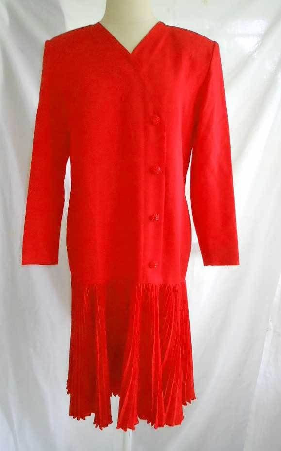 Vintage 80s NOS Deadstock Dropped Waist Pleated Red Dress Mimmina Deco Flapper