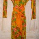 Maxi Dress Vintage 60s NOS Van Raalte Tribal Pixelated Hostess Print Caftan