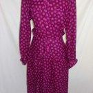 Vintage 70s Dress Albert Nipon Pink Magenta Polka Dot Fit Flare Drop Waist NOS