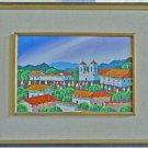Vintage 60s Painting Folk Art Landscape Mission Adobe Village Peasants Church