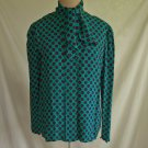 Guy Laroche Vintage 70s Print Blouse Pussy Paisley Bow Turtleneck Nos Pleated 36