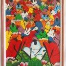 Haitian Painting Vintage Original Fruit Market Women Big Bright Framed Jean B