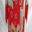 Beaded Shark Bite Dress Thunderbolt Swee Lo Vintage 80s Deadstock Red Silk L