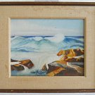 Vintage California Ochi Rocky Seascape Landscape Surfs Up Painting Original 60s