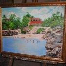 Landscape Painting Beachy Vintage Original Oil Concha Seaside Beach Tropical