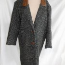 Hunters Run Coat 6 Tweed Distressed Leather Collar Cocoon Long Jacket Vintage