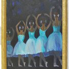 Ballet Ballerinas Vintage Painting Naive Back View Folk Art Blue Tutu Estafi