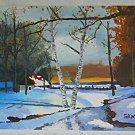 Vintage Winter Painting Snow Landscape GAN Glen Nelden Cabin Birch Trees Sunrise