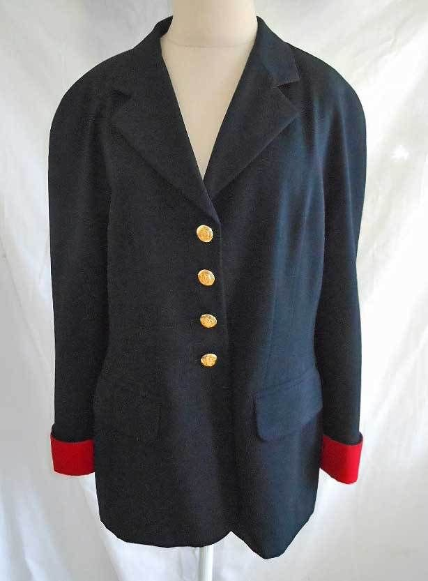 Escada Jacket Blazer Vintage 80s Military Sexy Seaming Navy Blue Wool Red Cuffs