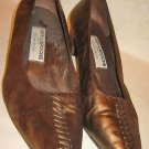 Pumps Guy Laroche Colorblock Vintage 70s Laced Wood Heel Leather Suede 40