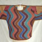 Batwing La Squadra Sweater Vintage 70s NOS Leather Patchwork Italy Knit Zig Zag