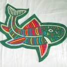 Mola Shark Pillow Cover Folk Art Vintage Decor Kuna Green Marine Fish Colorful