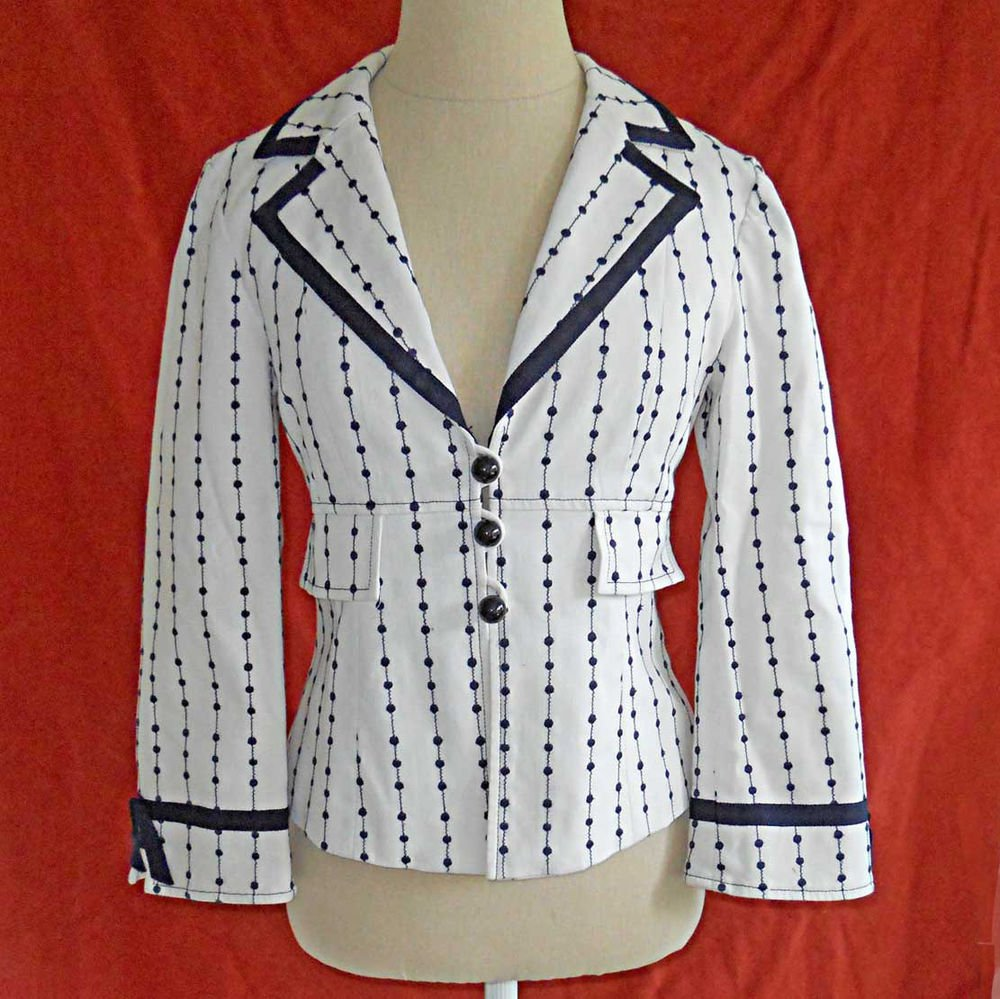 Nanette Lepore Blazer Jacket Trophy Deadstock NOS Dotted Stripe White Navy 6
