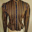 Kenzo Vintage 70s Blouse Jacket Nos Prarie Stripe Peplum Leg of Mutton Sleeve