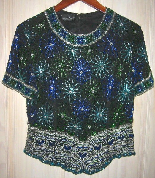 Sequins Top Star Fireworks Vintage 70s NOS Beaded Heart Tunic Blouse Bust 36""