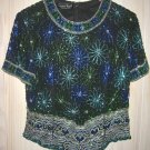 """Sequins Top Star Fireworks Vintage 70s NOS Beaded Heart Tunic Blouse Bust 36"""""""