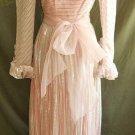 Pink Ballgown Sheer Mesh Metallic Vintage 60s Nos Gown Lingerie Dress Kay Kipps