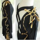Sheath Vtg 70s NOS Backless Ribbon Wrapped Drop Dead LBD Dress A Work of Art