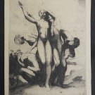 Antique Marco Zim Russia Large Etching 1936 The New Day Nude Male Female Erotic