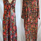 Valentino V Intimo M Set Vintage 80s Deadstock NOS Gown Robe Negligee Print