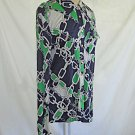 Tory Burch Silk Shirt Chain Print Deadstock NOS Blouse Tunic Flap Pockets L