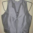 Ungaro VEST Gilet Moto Cropped Sexy Fitted Gray Silk Zip NOS Deadstock 4 38