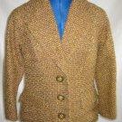 Jacket Dorothee Bis Tweed Fitted Camel Tweed Wasp Waist Retro NOS Vintage 80s
