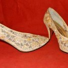 Vintage Jacques Levine Couture 7B  Sequins Pearls Fairytale Lace Pumps Sheer