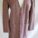 Rodier Vintage 70s NOS Tartan Strong Shoulder Tunic Jacket Skirt Suit Blazer