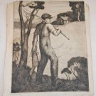 Marco ZIM Russia Artist Large Etching 1930s Antique Morning Farmer Girl School