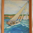 Vintage Oil Painting Yacht Regata Sailboat Racing California La Jolla S Young