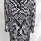 James Galanos Dress Vintage Deadstock Coat Plaid Black Colorblock Slim Midi NOS