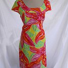 Lilly Pulitzer Dress Empire Sheath Deadstock NOS Tropical Print Hibiscus 10