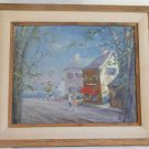 Vintage Impressionist Modernist 1964 Oil Painting Fred Smith Seaside Street